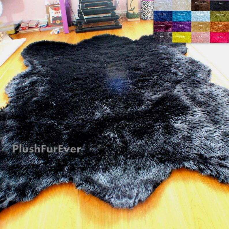 Bear Faux Fur Rug 60 X 72 Fake Animal Skin Fur Etsy Fur Rug Living Room Faux Fur Rug Bear Decor