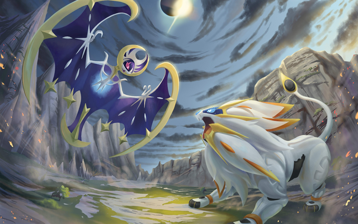 Download Wallpapers Lunala Solgaleo Battle Artwork Manga Pokemon Solgaleo Vs Lunala Besthqwallpapers Com Pokemon Solgaleo Pokemon Pokemon Sun
