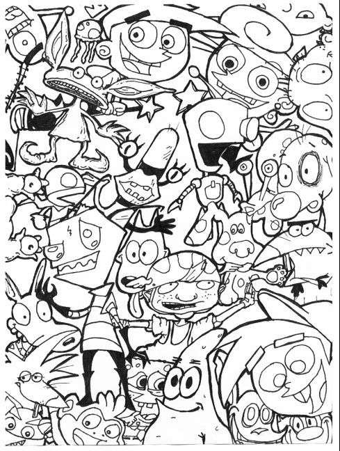 90s cartoon coloring pages google search - Cartoons Coloring Pages