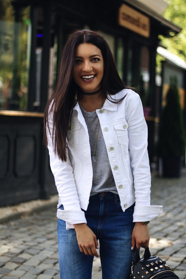 White Denim Outfit Ideas For Spring Poor Little It Girl Jacket Outfit Women White Denim Jacket Outfit White Denim Outfit