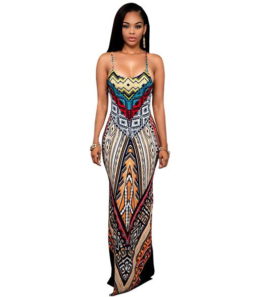 US$ 7.5000 LE6420-2 Bright Multicolor Print Dress | Maxi dress ...