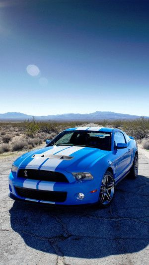 Automobile Bleue Et Blanches Ford Mustang Jantes Aluminium