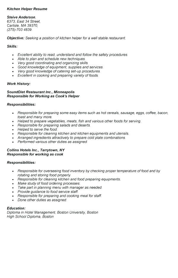 Resume Examples Kitchen Helper Resume examples, Kitchen helper and