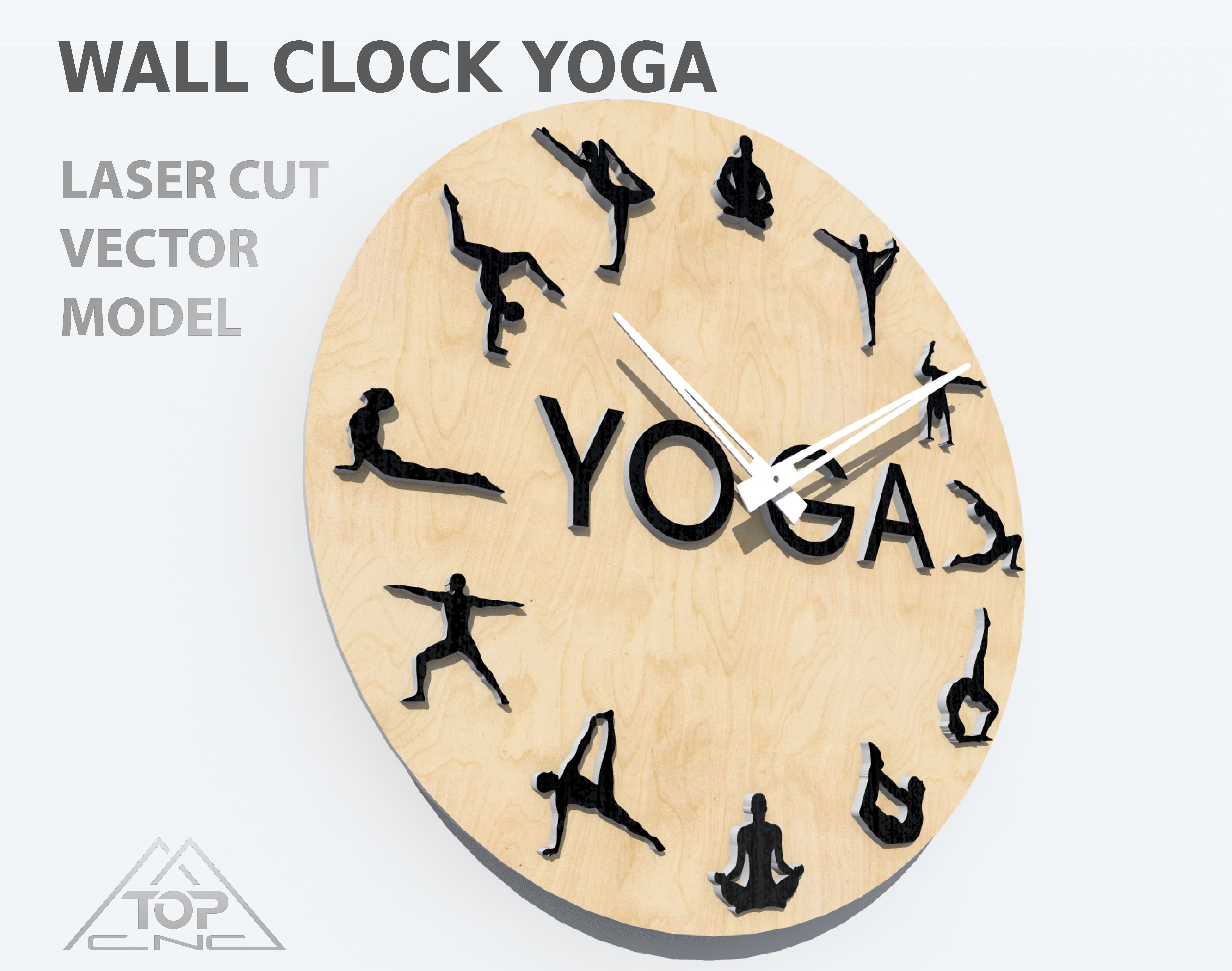 Wall clock CDR vector plan Vector file for laser cutting CNC Instant download. Wooden designer