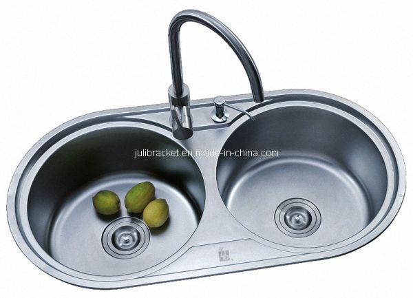 Round Double Bowl Stainless Steel Kitchen Sink (JL3005) | NKBA ...