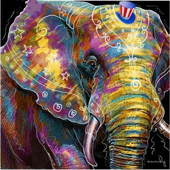 UK Watercolor Elephant 5D Diamond Painting Art Embroidery Cross Stitch Kit