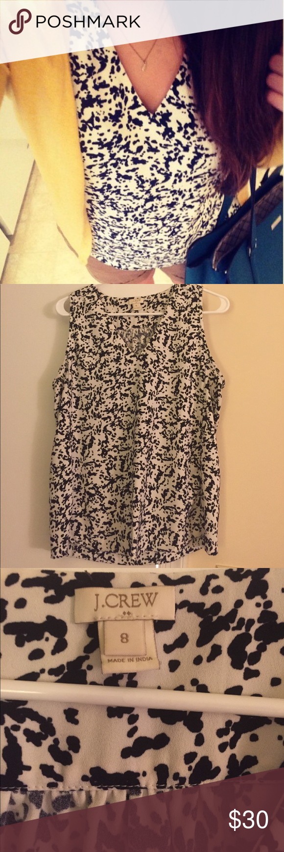 J.Crew Printed Sleeveless Top, Size 8 Sleeveless top with V neckline. Great work shirt! White and navy pattern, heavier weight and well made. J. Crew Tops