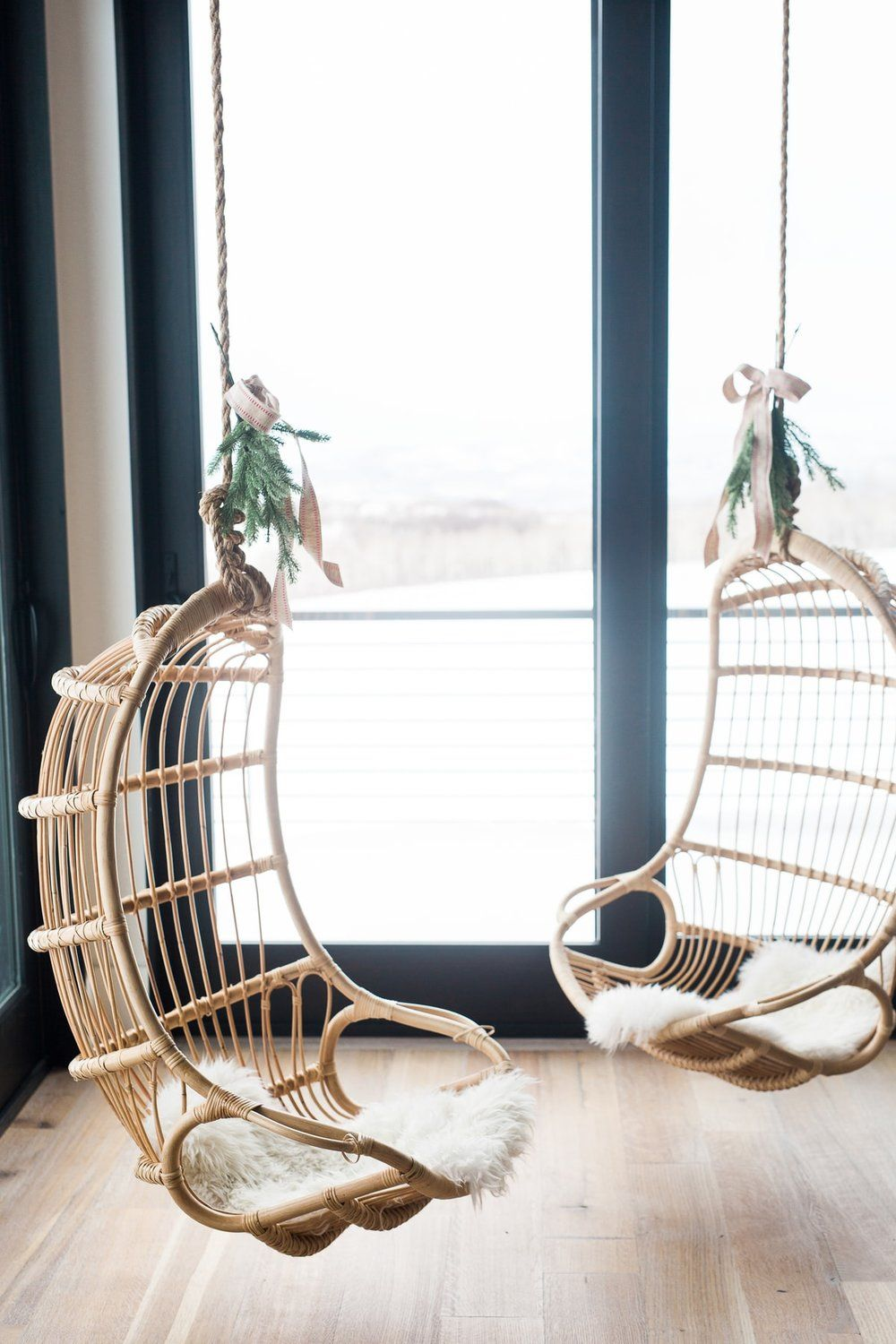 A Very Mountain Home Christmas Studio Mcgee Hanging Chair Living Room Hanging Rattan Chair Hanging Chair