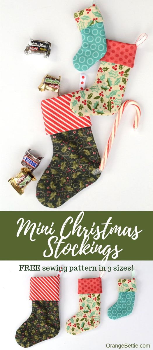 Mini Christmas stocking in 3 sizes - Free sewing pattern #kerstboomversieringen2019