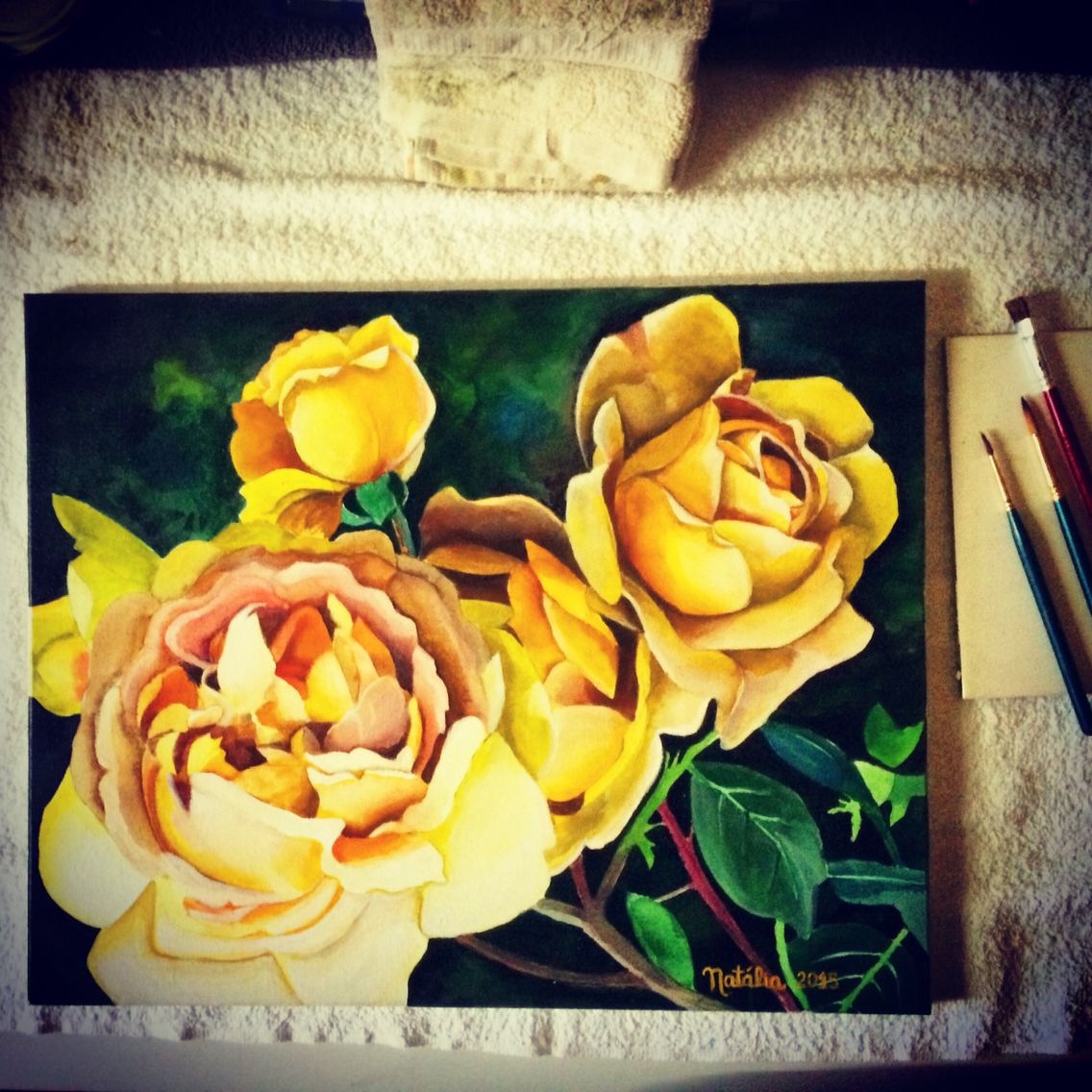Watercolor Yellow roses by me