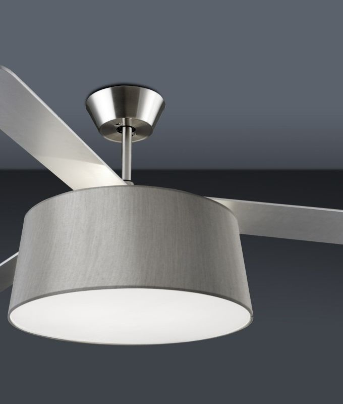 Modern Ceiling Fan With Drum Light Shade Silver