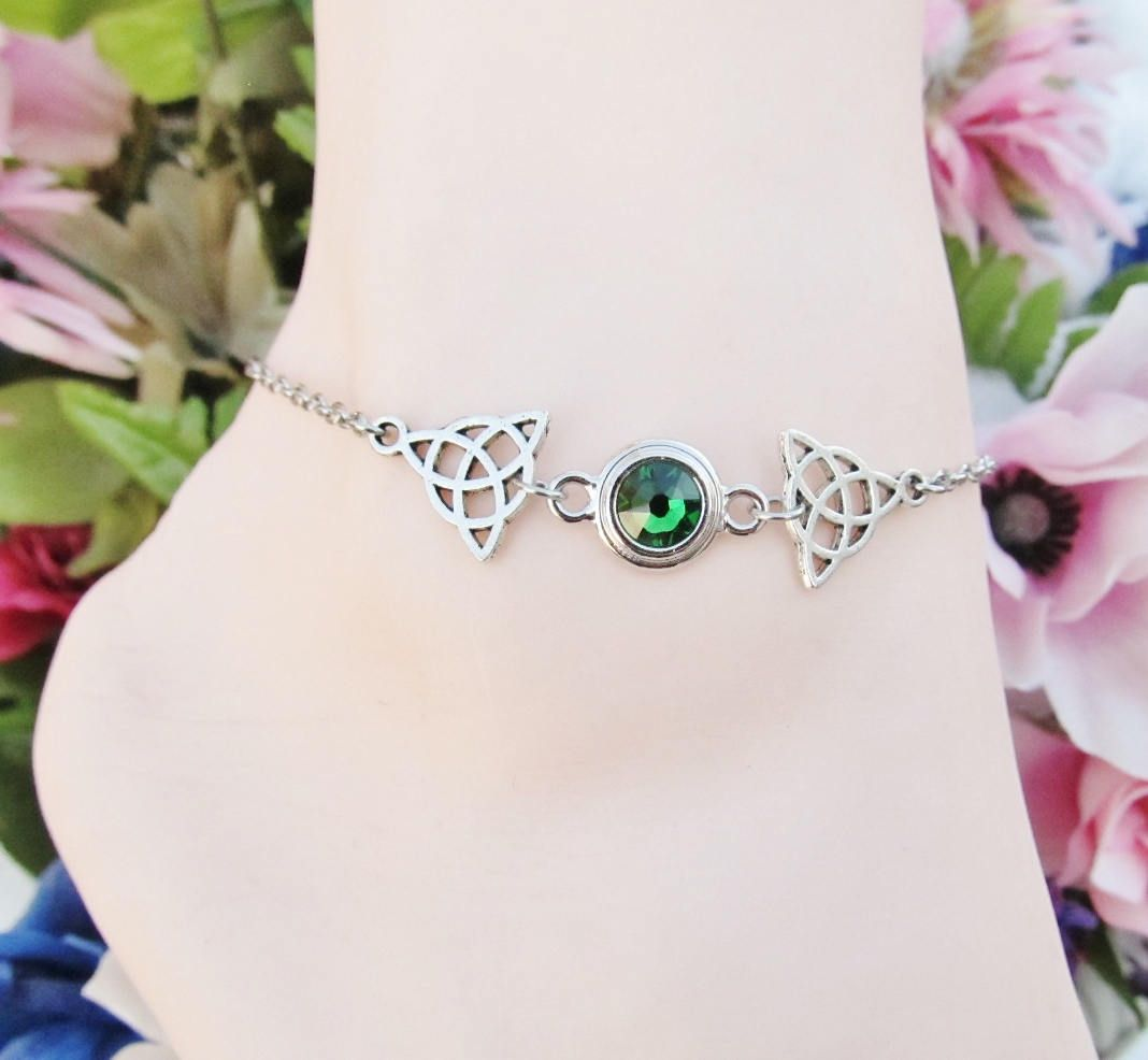 adjustable luminous swarovski bracelet anklet pin gold bracelets crystal green ankle