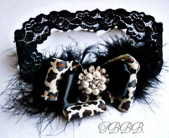 Baby Girl Leopard and black  double bow headband, ,Baby Headbands.Girl Headbands.. $16.90, via Etsy.