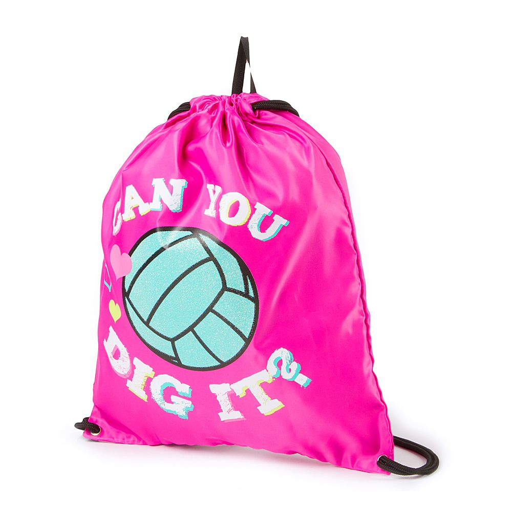 Can you dig it? This pink drawstring bag is perfect for carrying ...