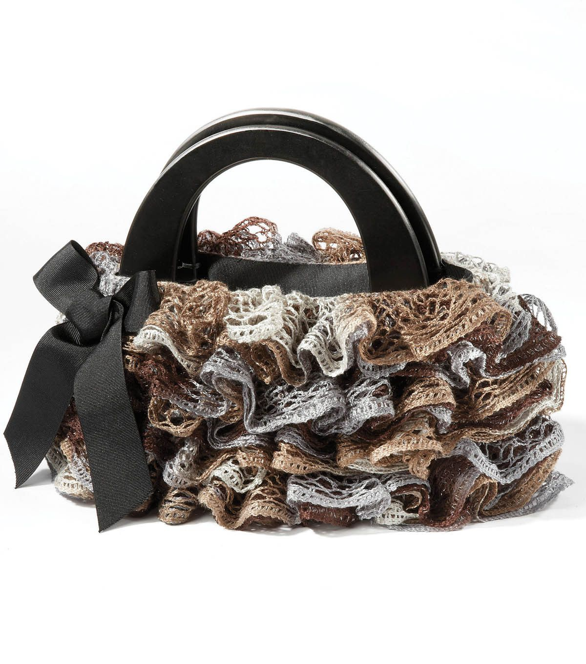 Check out this adorable ruffle purse made with Sashay yarn ...