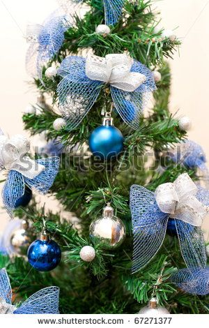 image detail for christmas tree with blue and silver decorations stock photo 67271377 - Green Christmas Tree With Blue Decorations