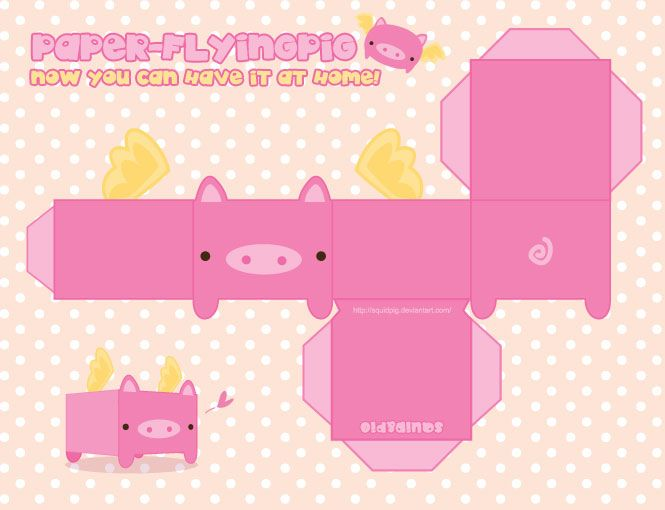 paper flying pig by squidpig printable boxes pinterest