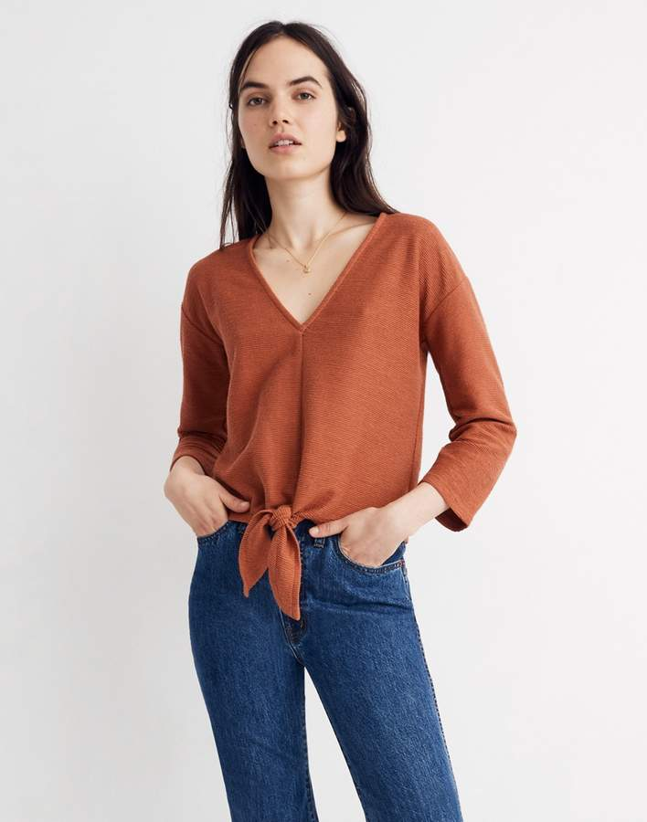 35ddbd37597 Madewell Texture   Thread Long-Sleeve Tie-Front Top