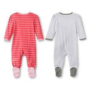 Circo™ Baby Girls  2-Pack Striped Footed Sleeper - Pink   Target ... 51552492b