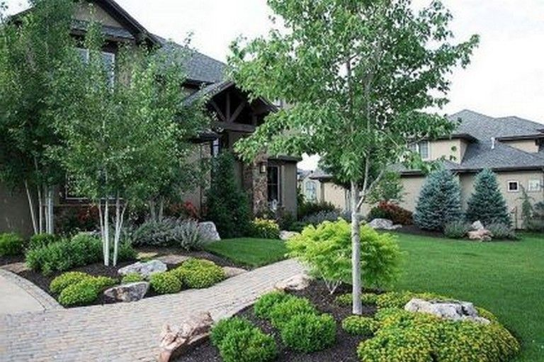 70 Cool And Beautiful Front Yard Landscaping Ideas Farmhouse Landscaping Front Yard Landscaping Front Yard Landscaping Design