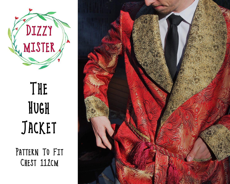 Smoking jacket sewing pattern, mens jacket PDF pattern, mens sewing ...