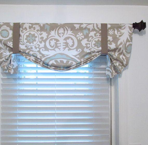 TIE UP Curtain Valance Suzani Twill Powder Blue Window