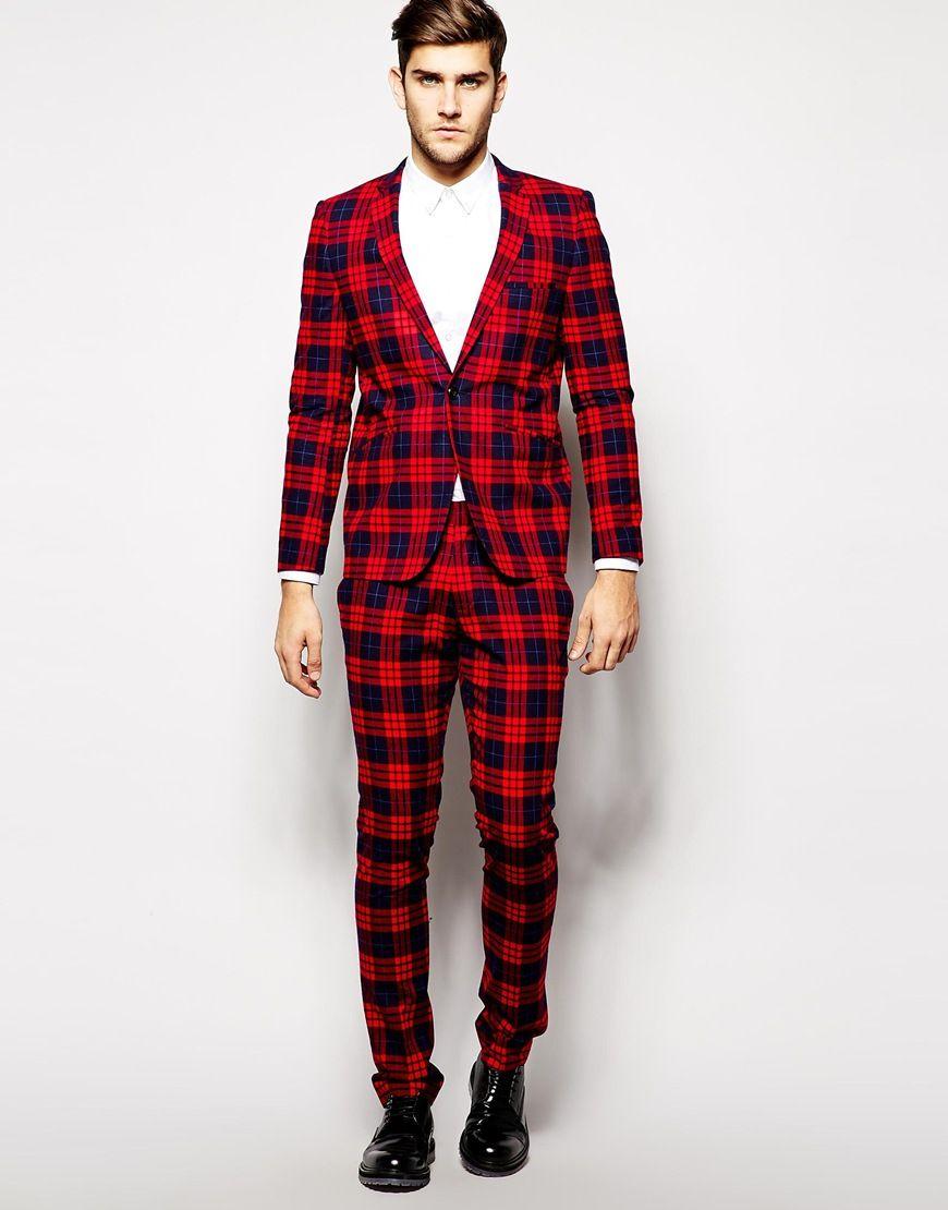 Image 4 of Vito Tartan Suit Jacket In Slim Fit