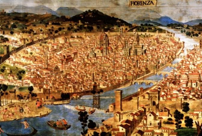 This is a painting of Florence by Giorgio Vasari who was a painter