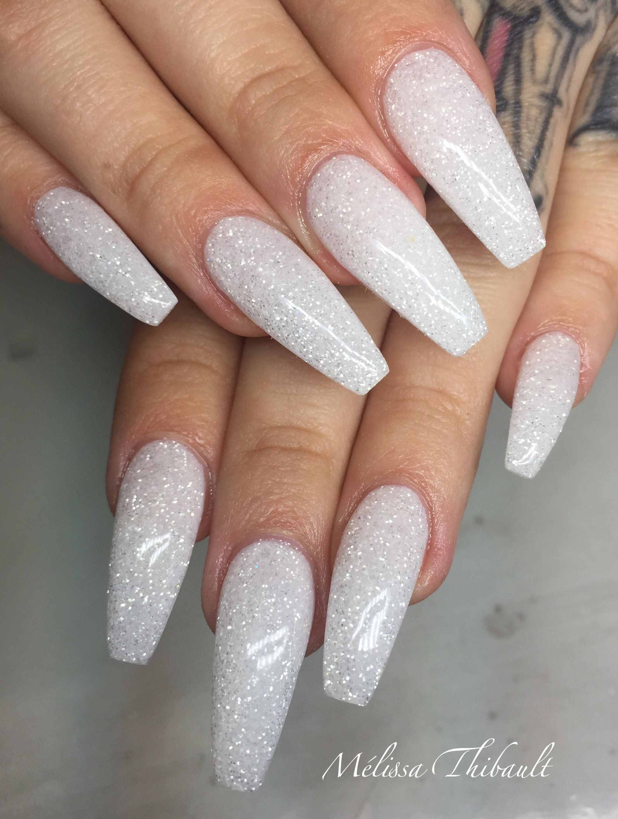 Birthday Boujee Shit Sparkly Acrylic Nails Square Acrylic Nails White Glitter Nails