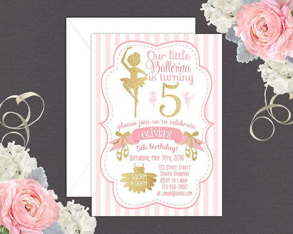 Ballerina Birthday Invitation In Pink And Gold Purple And Silver
