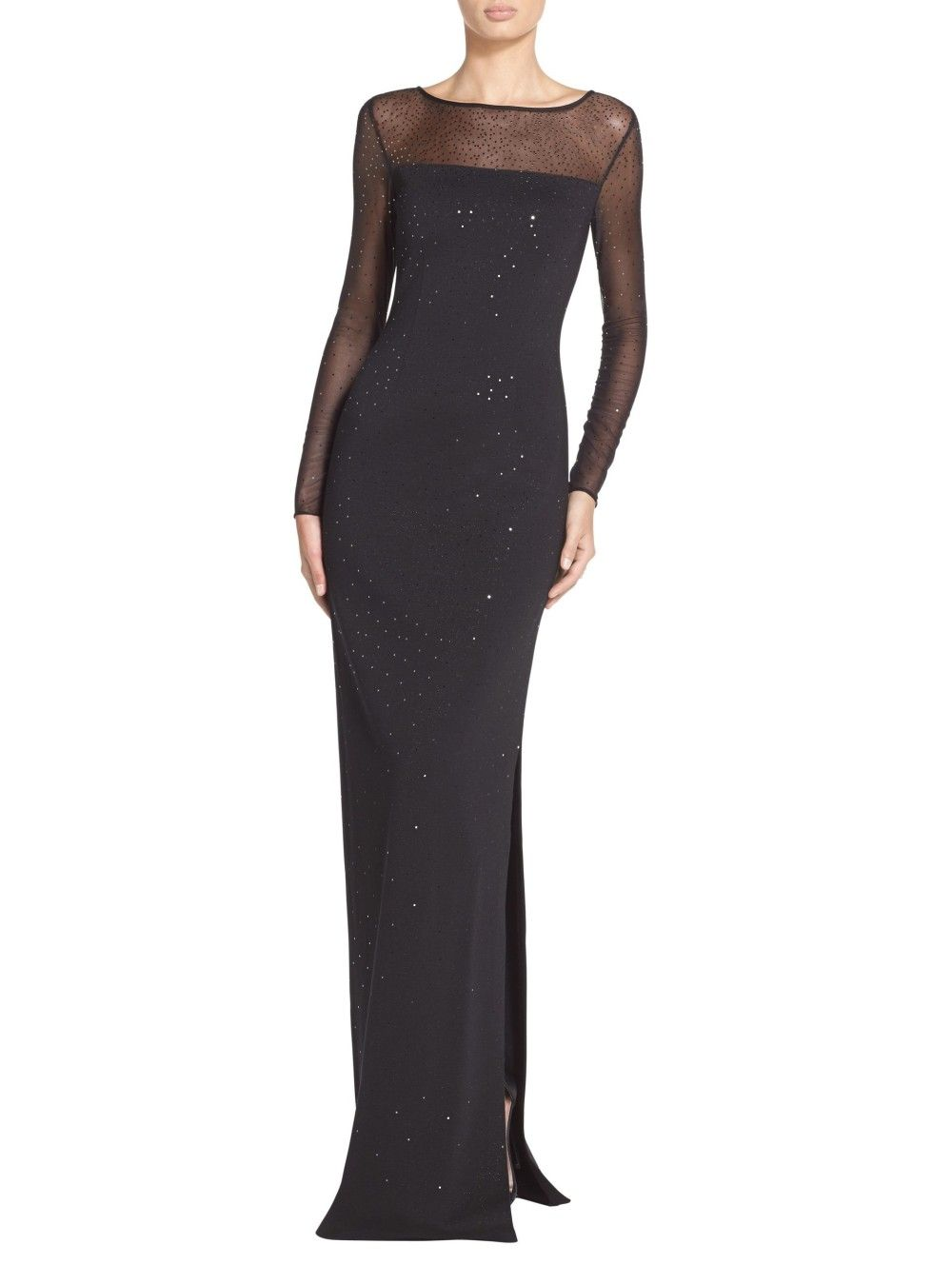 Sequined Shimmer Milano Knit Gown | St. John Knits | Black is the ...