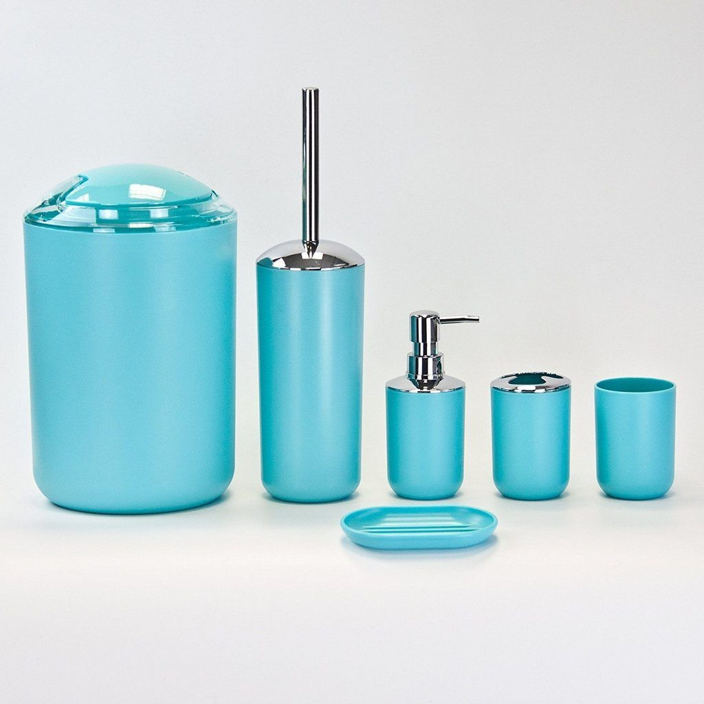 Plastic Bathroom Accessories Set 6 Piece Blue Bathroom Accessories Sets Bathroom Accessories Room Accessories