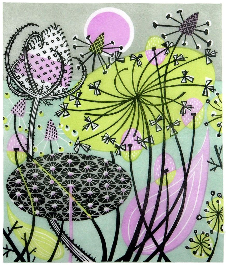 """""""Aliums"""" linocut by Angie Lewin. http://www.angielewin.co.uk/ Tags: Linocut, Cut, Print, Linoleum, Lino, Carving, Block, Woodcut, Helen Elstone,  Lucienne Day, Flowers, Seeds, Pattern, Leaves."""
