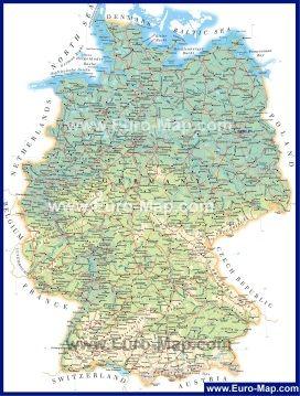 Geograficheskaya Karta Germanii S Gorodami Karta Germaniya Gorod