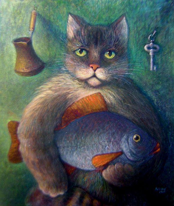 Картинки с котиком и рыбкой