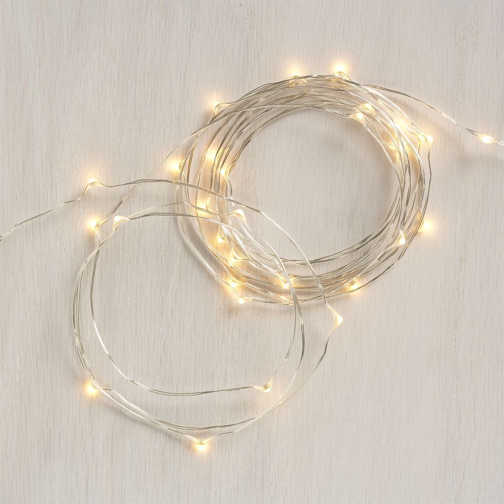 Twinkle Silver 50' String Lights - Crate and Barrel