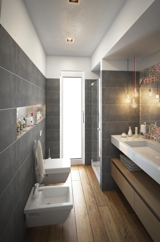 Progetto Di Rimodulazione Interna Di Un Appartamento Bagno Moderno Di Beniamino Faliti Architetto Moderno Homify Stile Bagno Bagni Stretti E Lunghi Progettazione Bagno