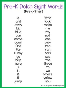 Dolch Sight Word List Pre Primer Preschool Sight Words