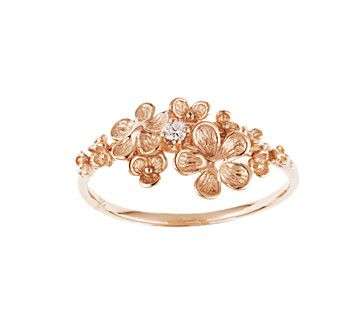 Italian Gold Collection 14k rose gold flower ring with small