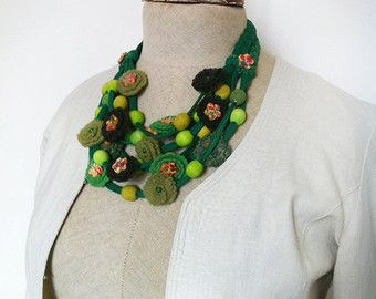 Emerald Green Textile Statement Necklace by fiber2love on Etsy