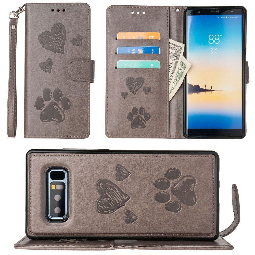 Samsung Galaxy Note 8 – Welpen-Liebesbrieftasche für Samsung Galaxy Note 8 mit passender abnehmbarer magnetischer Handyhülle und Armband, grau   – Products