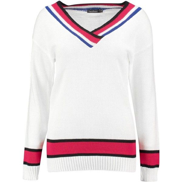Boohoo Isla Cricket Jumper (579.955 VND) ❤ liked on Polyvore featuring tops, sweaters, cricket sweater, crew neck sweaters, slouch sweater, white sweater and white chunky knit sweater
