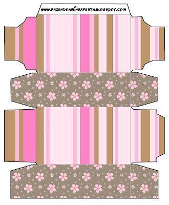Flores e Listras Marrom e Rosa – Kit Completo com molduras para convites, rótulos para guloseimas, lembrancinhas e imagens! |Fazendo a Nossa Festa