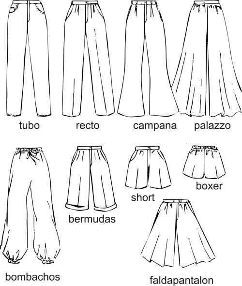 Resultado De Imagen Para Tipos De Pantalon Mujer Tipo De Pantalones Vocabulario De Moda Figurines De Moda