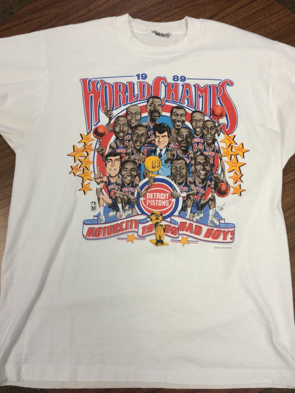 the best attitude cca99 8c35f Vintage 1989 Detroit Pistons Motor City Bad Boys NBA World ...