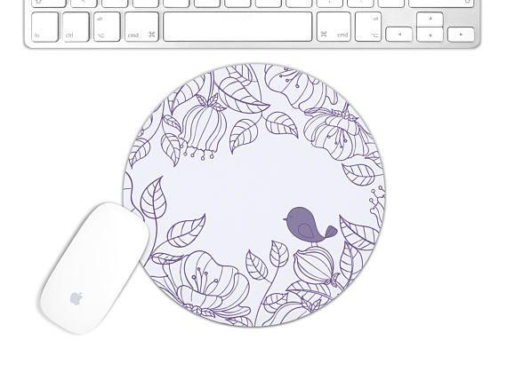 Floral Pattern Square Computer Mouse Pad Bird Print For Circle Computer Mouse Pad Floral Mousepad 6 Bird Prints Linen Fabric Vibrant Colors