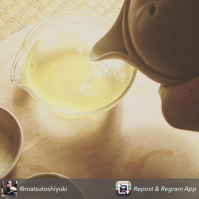 The Tea Crane organic Sencha being enjoyed by the Asahi-yaki kiln of traditional potters. Happy to see our tea being enjoyed at such various places! Repost from @matsutoshiyuki - 一日一茶  友人のティアスさんオススメの 有機煎茶  お茶本来の苦味  #一日一茶