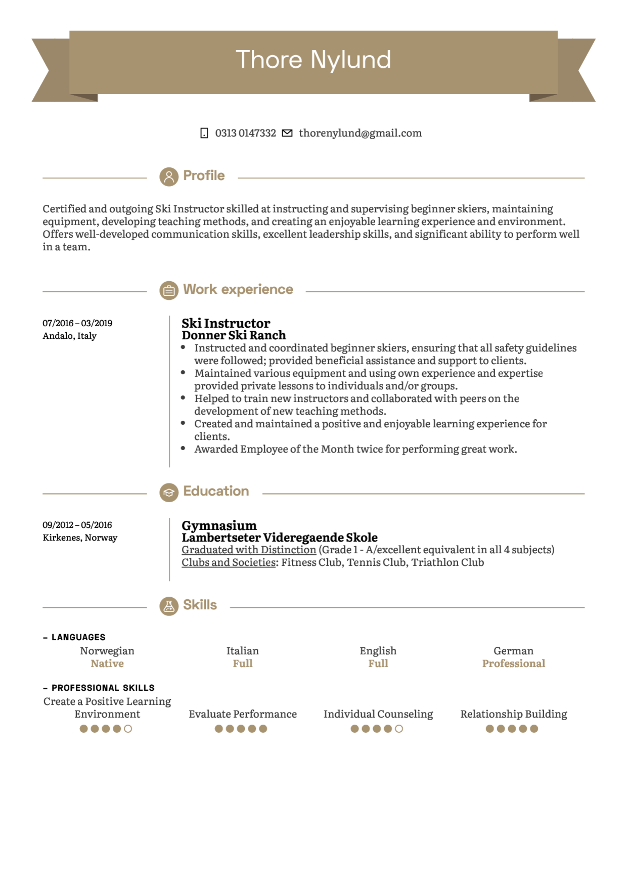 Ski Instructor Resume Example in 2020 Resume examples