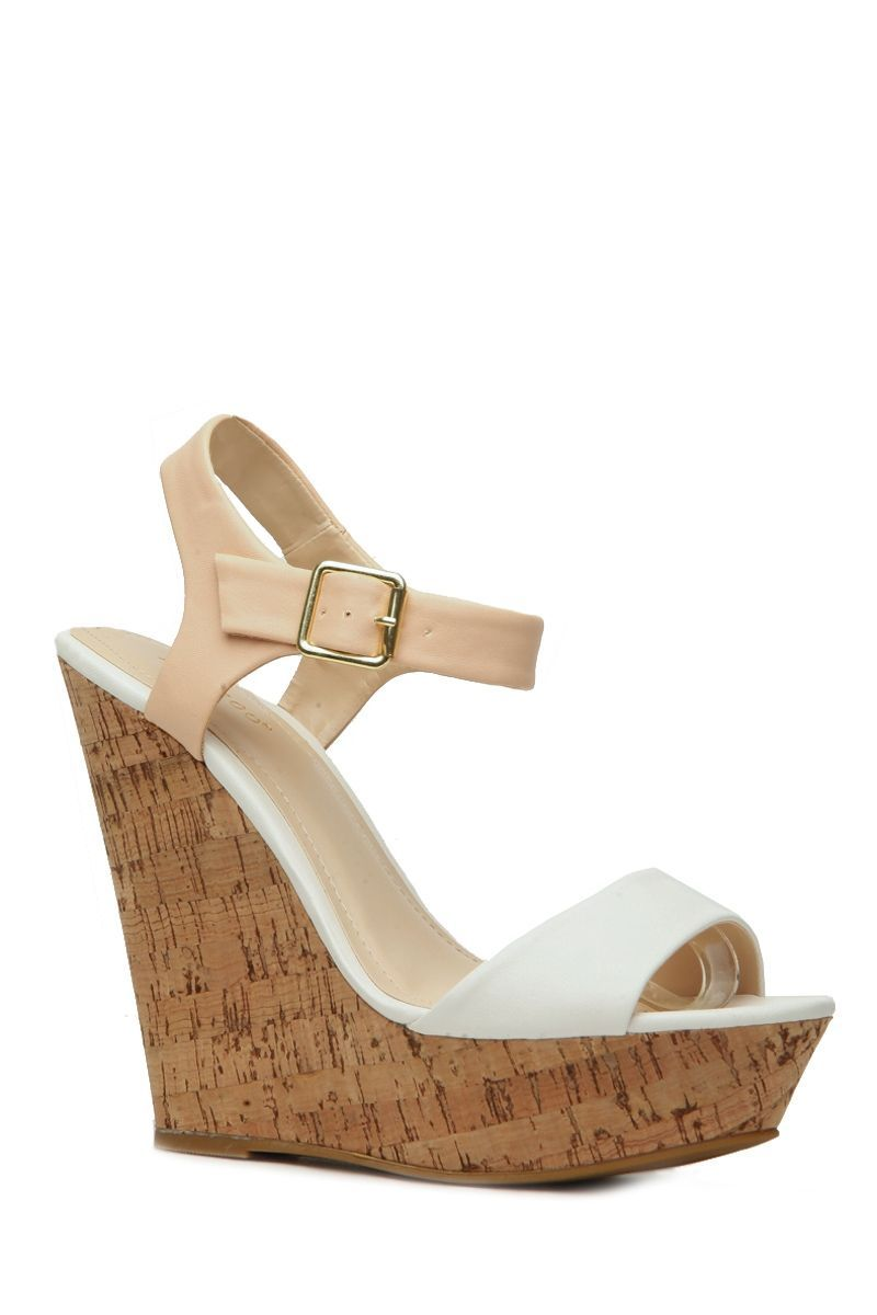 e1b764d89 White Two Tone Faux Leather Cork Wedges @ Cicihot Wedges Shoes Store:Wedge  Shoes,