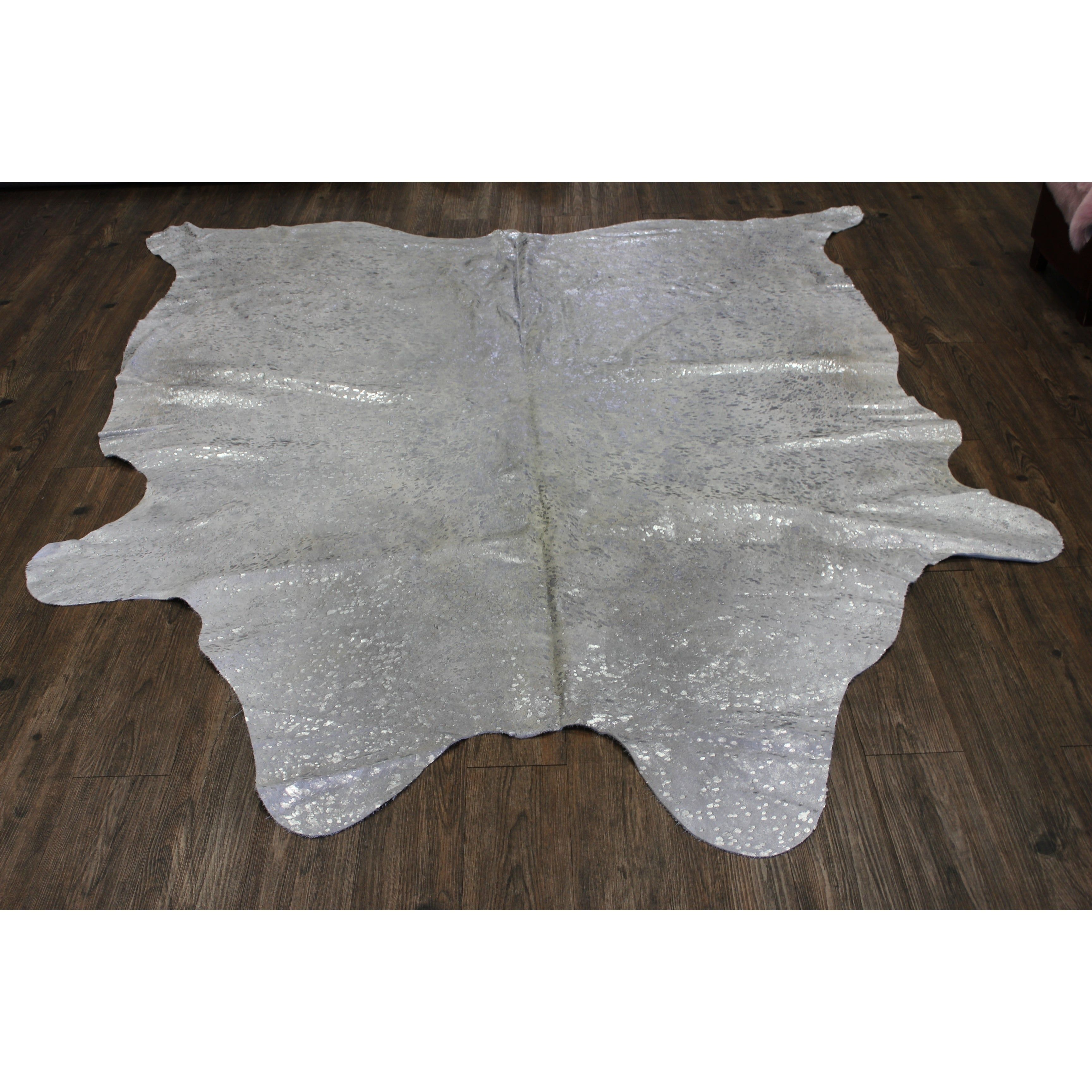 Silver Metallic On White Large Real Natural Cowhide Rug Area Rugs Silver Gray Cow Hide Rug Metallic Rugs Colorful Rugs